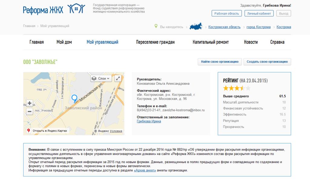 Рейтинг на сайте reforma ghk.ru на 23.04.2015 г.